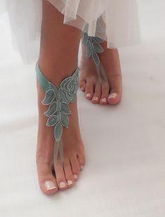 Beach Wedding Barefoot Sandals lace beach shoes Bridesmaids | Etsy