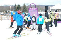 Glen Eden's snow school waiting to play shopping bag plinko!