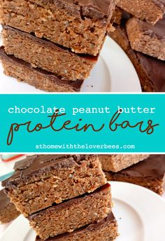 Chocolate Peanut Butter Protein Bars Pin