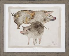 PIGS Painting by Jacques Pepin Signed, Numbered, L.E. Print