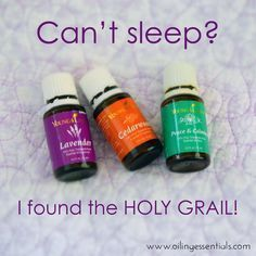 This is the oil combination to end all oil combinations for troubled sleepers! I will NEVER be without these 3 oils at bedtime! #oilingessentials #insomnia