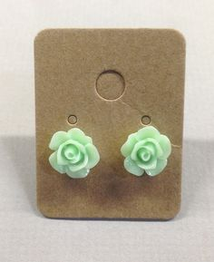 Light Mint Green Resin Rose Cabochons 10mm Earrings by RatDogInk
