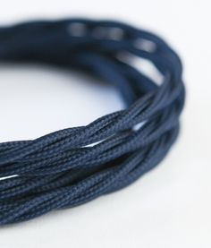 Moody blue twisted fabric cable is a rich and deep navy colour that adds a touch of class wherever you use it - this one is exclusive to Dowsing & Reynolds