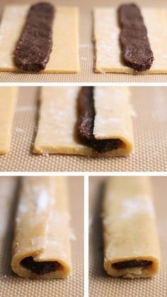 Homemade fig newtons...I would most definitely substitute the figs with strawberries, peaches, or anything other than figs...but it looks super yummy.
