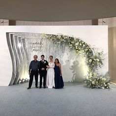 Image may contain: one or more people, people standing and wedding Wedding Wall Decorations, Engagement Decorations, Wedding Stage Design, Wedding Designs, Wedding Background, Wedding Sets, Wedding Flowers, Flowers Decoration, Flower Backdrop