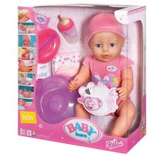 BABY BORN INTERACTIVE DOLL - Little ones will love taking care of a BABY Born Interactive doll! She has 8 life like functions (she's even bathable!) and comes with 10 accessories! #babyborn#toysfortoddlers #planetfun