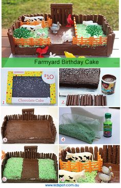 Farmyard birthday cake recipe...i would atr least make the cake from scratch...but this is a nice easy peasy way to decorate it for when i have two little people to chase after...