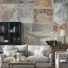 Idea for the powder room wall Maps Living room wallpaper ideas Living Room Color Schemes, Paint Colors For Living Room, Living Room Designs, Living Room Decor, Decor Room, Beautiful Living Rooms, Small Living Rooms, Living Area, Room Wallpaper