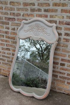 Decorative Mirror painted in Paris Grey and Coral Chalk Paint. $95.00, via Etsy.