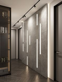 DEDE/Emerald apartment on Behance Feature Wall Design, Wall Panel Design, Door Design, Feature Walls, Ceiling Design Living Room, Ceiling Light Design, Linear Lighting, Lighting Design, Wall Cladding Interior