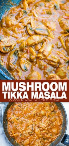 Mushroom Tikka Masala Recipe - Creamy spiced vegetarian Indian Curry prepared in one pot. Quick and easy Asian recipe to make at home. www.MasalaHerb.com Indian Beef Recipes, Easy Asian Recipes, Spicy Recipes, Curry Recipes, Easy Dinner Recipes, Vegetarian Recipes, Easy Dinners, Drink Recipes, Mushroom Masala Recipe