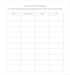 Free Downloadable Wedding Guest RSVP List Guest list Template