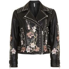 Topshop Embroidered Leather Jacket (4.857.235 IDR) ❤ liked on Polyvore featuring outerwear, jackets, topshop, biker, floral leather jacket, floral biker jacket, zip up jackets, embroidered leather jacket and studded jackets