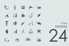 24 Fishing icons by Palau on Creative Market