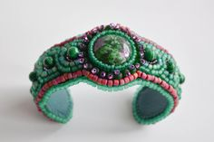 Beaded cuff embroidery malachite bracelet green by ExclusiveCraft, $126.00