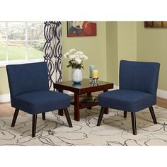 Give your home a fresh, updated look with these contemporary Delilah accent chairs, upholstered in a beautiful, navy blue polyester fabric. The clean, simple lines make these pieces the perfect way to add style to your home without overwhelming the space.
