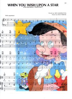 Repurposed Sheet Music Featuring Hand Painted Watercolor featuring Pinocchio & Jiminy Cricket from Disney's Pinocchio *Buy 2 get 3rd FREE by SimpleeSaid on Etsy