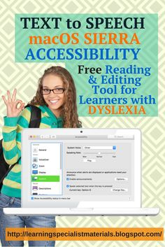 Learning Specialist and Teacher Materials - Good Sensory Learning: Free Text to Speech on macOS Helps Reading and Writing.  Come learn how to use it for reading and writing in this free tutorial.