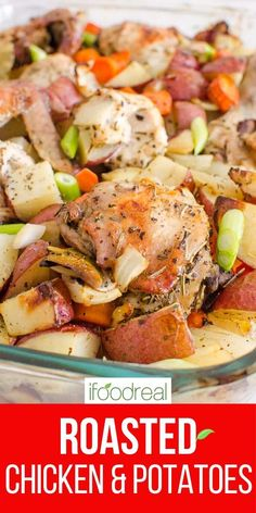 Roasted chicken thighs, potatoes, carrots and onion tossed in simple spices, garlic and oil. Then oven baked until chicken is juicy with crispy skin and onions are roasted. Major yum! Oven Roasted Chicken Thighs, Roasted Chicken And Potatoes, Chicken Thigh Recipes, Healthy One Pot Meals, Healthy Dinner Recipes, Delicious Crockpot Recipes, Potatoes In Oven, Dump Meals, Oven Baked