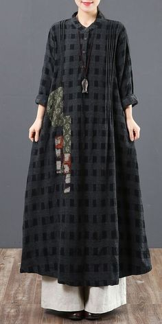 Fashion Loose Cotton Plaid Spring Maxi Dresses For Women 6129 - Kleidung Ideen 2019 Womens Fashion Casual Summer, Black Women Fashion, Trendy Dresses, Casual Dresses, Hijab Fashion, Fashion Dresses, Linen Dresses, Maxi Dresses, Cotton Dresses