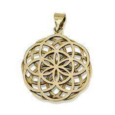 "Double Seed of Life Brass Pendant Size 1.2"" Sacred Geometry Flower of Life Yoga #MAGAYA #Pendant"