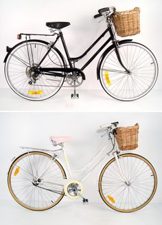 Retro looking bikes. It would behoove* (Spelling?) me to get a bike with a basket, because then I wouldn't have to carry it all on my back. Plus I can put my typewriter in the basket. :)
