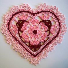 ~ Crocheted Heart ~ Want to do this all in White....