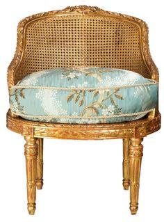 19 Century Louis XV Cane Gilt Chair Image 2