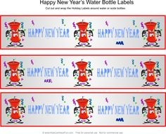 Happy New Year Water Bottle Labels http://www.kidscanhavefun.com/new-years-activities.htm #newyears