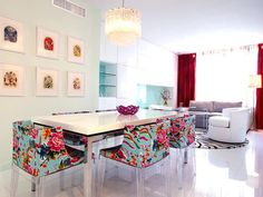 "I love this light and #colourful dining room! I also love these chairs. The fabric on the chairs is the same as my pin "" #floral theme tablescape"", only this time, the chairs have lucite legs with the same structure."