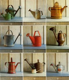 vintage tin watering cans