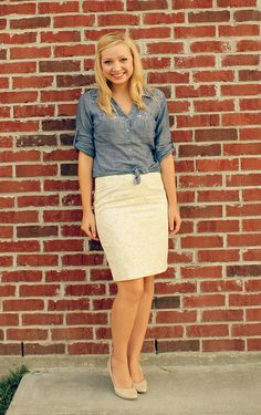 Knotted chambray & cream skirt | Simplicity