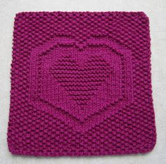 Free knitting pattern for Heartbeat Cloth with heart motif that can be used on dishcloths, blanket squares, sweaters Knitted Washcloth Patterns, Knitted Washcloths, Dishcloth Knitting Patterns, Crochet Dishcloths, Crochet Patterns, Knitting Blocking, Knitting Squares, Easy Knitting, Loom Knitting