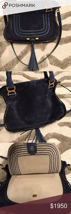 Navy Blue Suede Marcie Chloe bag Authentic gorgeous navy  suede Chloe bag... all tags, cards and duster included...worn minimally ... amazing bag! Chloe Bags Satchels
