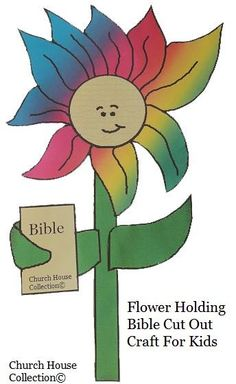 Flower Holding A Bible Cutout Craft for kids in Church by Church House Collection©