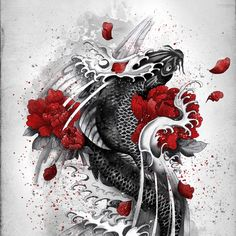 Black Koi Art Print by Marine Loup | Society6