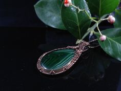 Handmade pendant with green onyx agate in oxidized antiqued copper wire. Unique wire wrapped vintage jewelry Victorian inspired. 2 5/8 X 1 5/8 inch ( 6.7 X 3.5 cm ) with a chain ( 18 inch )