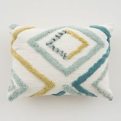 Reese Pillow white pillow with yellow and teal diamond detail Yellow Gray Room, Blue Gray Bedroom, Teal And Grey, Yellow Throw Pillows, White Pillows, Punch Needle Patterns, Bedroom Color Schemes, White Rooms, Headboards For Beds