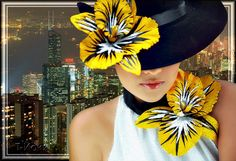 City girl in a hat with yellow lilies - animated gifs and gif Cards