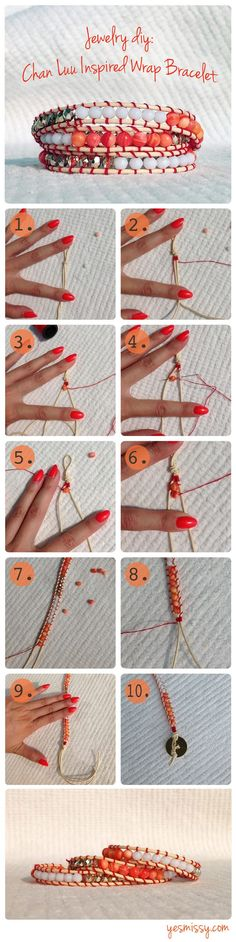 DIY Jewelry: Chan Luu Bracelet Tutorial. This works better if you pin the end to a foam core board or clipboard.