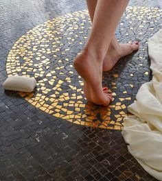 Gold Glass and Stone hand cut mosaic floor