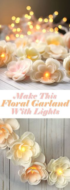 DIY wedding reception decor. Make this gorgeous floral garland with white twinkle lights and add a touch of romance to your wedding or baby shower or tea party.