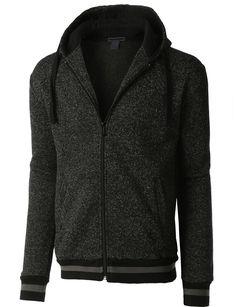 b8bdb383706 LE3NO Mens Soft Fleece Full Zip Up Hoodie Sweatshirt with Pockets  (CLEARANCE)