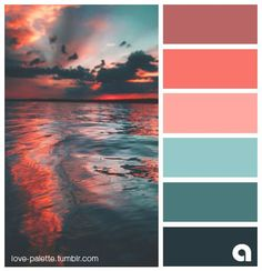 Palettes of life. Love of color. Hues of feelings. Coral, Orange, blue and seagreen Coral Colour Palette, Sunset Color Palette, Color Schemes Colour Palettes, Orange Color Palettes, Sunset Colors, Bedroom Color Schemes, Color Palate, Coral Color Schemes, Colours That Go Together