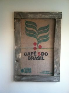 Repurposed burlap coffee bean bags, painted/distressed wood, kelleybless@gmail.com = SOLD $30