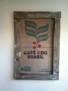 Repurposed burlap coffee bean bags, painted/distressed wood, kelleybless@gmail.com = SOLD $30
