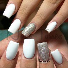 Nuni Torres (Kissimmee FL) @nunis_nails Simple and sweet,...Instagram photo | Websta (Webstagram) #whitenails #glitteraccentnails