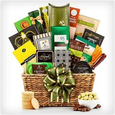 A Taste of Elegance Gift Basket  Here's a basket that's jam packed with items that will get their mouth watering. The lineup includes an assortment of sweet and savory things, like cheeses, chocolates, caramels, and even vegetables. They'll be taken to a new plane of existence with these gourmet-caliber choices.  $69
