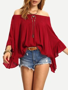 2016 Women Blouses Butterfly Sleeve Off Shoulder Shirts Fashion Autumn Ladies Slash Neck Lace Tassel Loose Casual Tops Blusas Off Shoulder Shirt, Off Shoulder Tops, Shoulder Sleeve, Bohemian Mode, Loose Tops, Loose Shirts, Red Blouses, Striped Blouses, Lace Blouses
