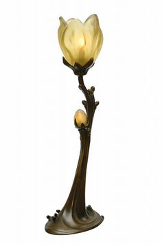 Daum Frères and Louis Majorelle Bronze, Cameo Glass Lamp.
